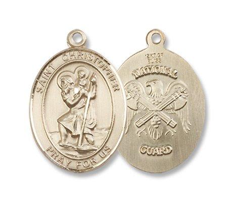St. Christopher 14KT Gold Medal Military Medal US National Guard Patron Saint of Travelers & Motorists