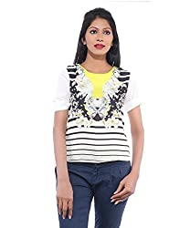 Avakasa Polyester Yellow Floral Partywear Half Sleeves Top (top-12-yellow)