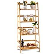 COSTWAY 4 Tier Bamboo Ladder Shelf Multifunctional Plant Flower Display Stand Storage Rack Bookcase Bookshelf Natural