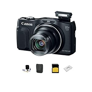 Canon PowerShot SX700 HS Digital Camera, 16.1MP, 30x Optical Zoom, WiFi, 1080p Full HD Video, Smart AUTO, Black - Bundle With LowePro Case, 16 GB SDHC Memory Card, Digital Cleaning Kit, Card Case