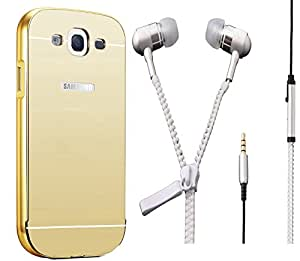 Novo Style Back Cover Case with Bumper Frame Case for Samsung Galaxy J3 Golden + Zipper Earphones/Hands free With Mic 3.5mm jack