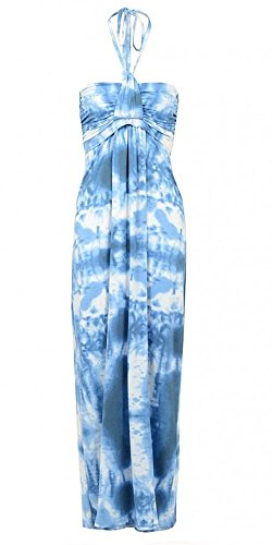 Womens Blue Tie Dye Maxi Dress Ladies (16 - Blue)