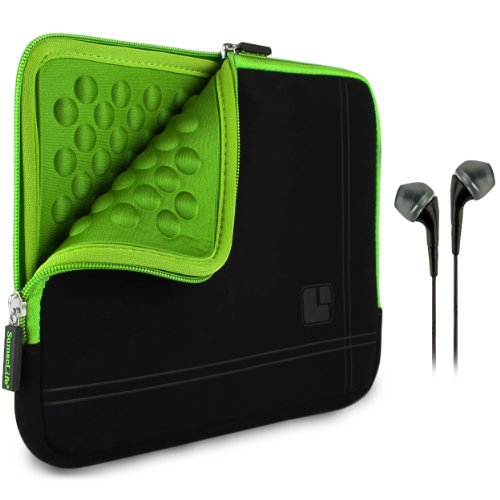 Sumaclife Padded Sleeve - Pro Microsuede Quilted Cover Green Black For Samsung Galaxy Tab S 10.5' Android + Black Hands-Free Headphones W/ Microphone