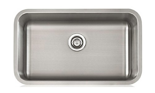 Lenova SS-CL-S2-16 16-Gauge Stainless Steel Classic Single Bowl Undermount Kitchen Sink, Large
