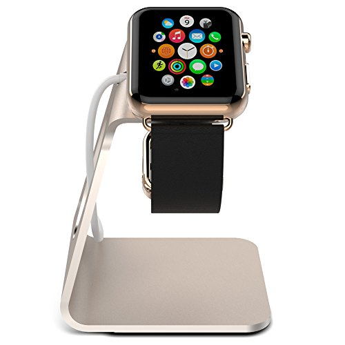 Apple Watch Stand, iFans Aluminium with TPU iWatch Charging Dock Station Platform iWatch Charging Stand Bracket Docking Station Holder for Apple Watch 38/42mm Sport Edition All Model (Gold)