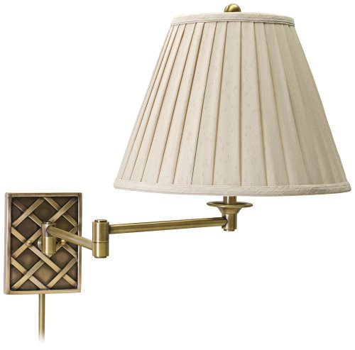 House Of Troy Ws760-Ab Decorative 1Lt Swing-Arm Wall Lamp, Antique Brass Finish With White Pleated Fabric Shade front-92821