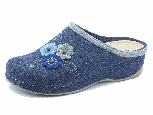 Ciabatte Melluso Walk per donna in lana cotta blu (Taglia 39)