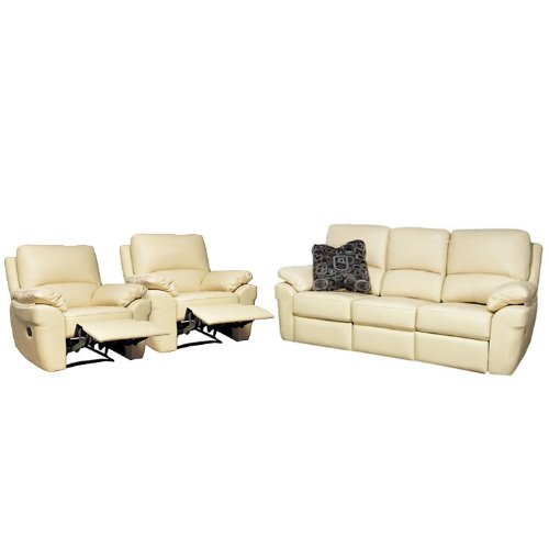 Reclining Sofa and Armchair Suite - 3 Seater, 2 Armchairs - Faux Leather - Black