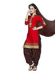Red Jacquard Patiala Suit
