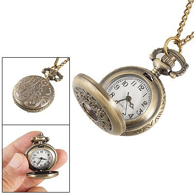 Ladies Hunter Case Necklace Pocket Watch Bronze Tone