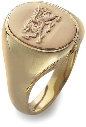 Clogau 9ct Yellow & Rose Gold  OSRD Gents Dragon Oval Signet Ring
