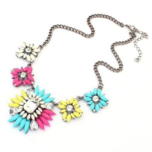 Great Deal! Bestpriceam (TM) Chunky Clear Crystal Statement Necklace (Colorful)