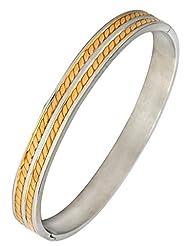The Jewelbox Stainless Steel Gold Rhodium Plate Free Size Kada Bracelet Bracelet