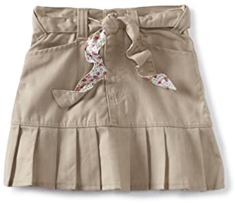 U.S. Polo Association School Uniform Little Girls'  Twill Print Belt Scooter Skirt, Khaki, 4
