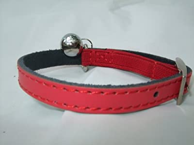 Leather cat/ kitten collar pink, blue,red, brown safety elastic