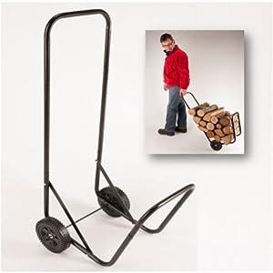 ProBache - Chariot porte bûches métal noir avec roues