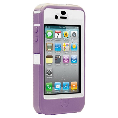 OtterBox Defender Case for iPhone 4 (White/Purple, Fits AT&T iPhone)