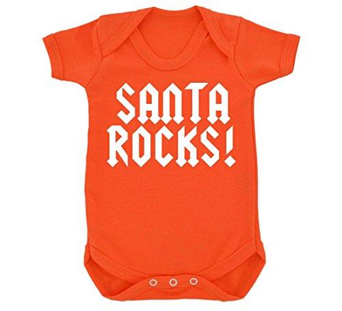 """Rocce, motivo: Babbo Natale con Design Body per neonato, colore: bianco """" arancione 6 mesi"""