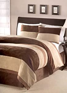 "4 Pieces Micro Suede Comforter Set 86"" x 86"" Bedding Set / Bed-in-a-Bag - Beige, Brown & Chocolate Brown Colors Queen Size"
