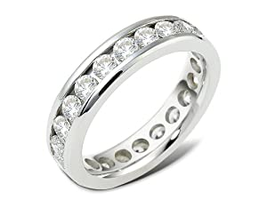 Sterling Silver, Square Edge Channel Diamond Wedding Band, 2 7/8 cttw (sz 14)