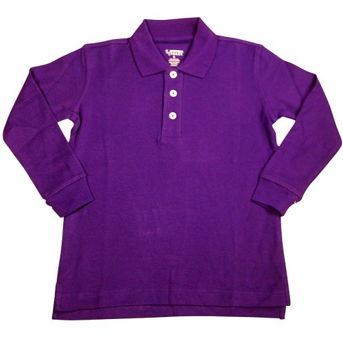 French Toast - Big Boys Long Sleeve Pique Polo, Purple 33372-8 front-1012487