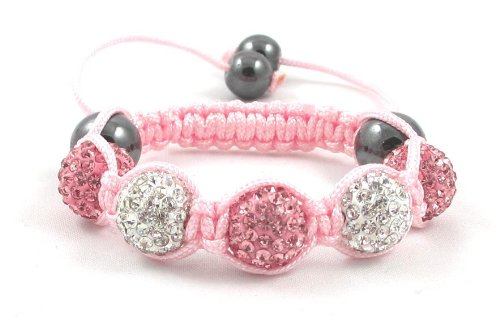 05-Ball Children Kids Girls Boys Petites Teen Pink White Bead Shamballa Bracelet on Pink String
