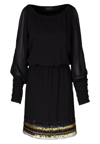 APART Fashion Chiffonkleid, Farbe schwarz-gold, Gr. 36