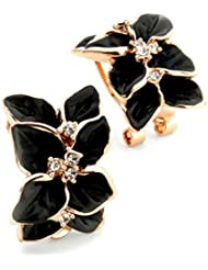 Black Flower Crystal Hoop Huggie Earrings 19 Likes Stud JewelleryALEA0142KA