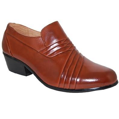 bossman brown 2 inch high cuban heel shoes