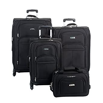 Delsey Luggage Illusion Spinner 4 Piece Set, Black, One Size