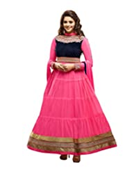Status Pink Color embroidered georjet Anarkali salwar Suit