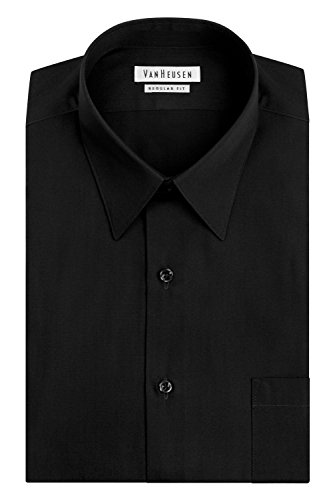 Van Heusen Men's Poplin Regular Fit Solid Point Collar Dress Shirt