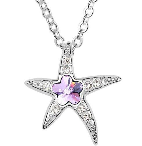 Purplelan-Austrian Crystals Rhinestones Violet Sea Star Necklace Fahsion Jewlery 18Inch Necklace As9681