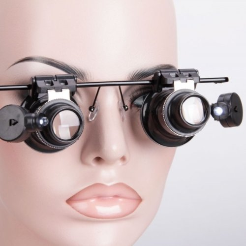 Fast Shipping + Free Tracking Number, 20X Glasses Type Hand Free Magnifier With Led Light Loupe Magnifying Glass