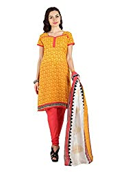 Aryahi Women's Poly Cotton Dress Material (80449IAAR_Yellow)