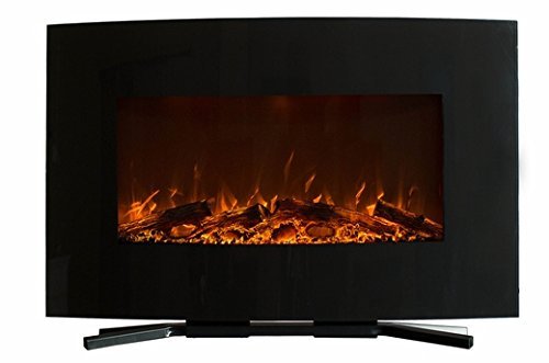 The Yardley - Touchstone's 36 inch Black Curved Wall Mount Electric Fireplace