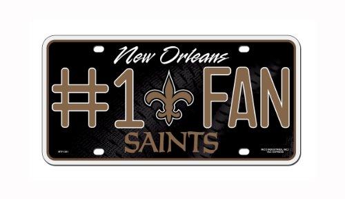 NFL New Orleans Saints #1 Fan Metal Auto Tag (New Orleans Saints Fan Gear compare prices)