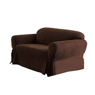Green Living Group Chezmoi Collection Soft Micro Suede Solid Chocolate Loveseat Cover Slipcover with Elastic Band Under Seat Cushion, Brown
