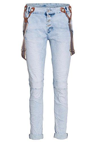 Livre Hellblaue Boyfriend-Jeans Mit Hosenträger, Damen, Größe 42, hellblau