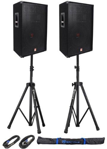 "Package: (2) Rockville Rsg-15 Single 15"" Three-Way 3000 Watt Peak/1500 Watt Rms Pro Audio Passive Loudspeakers + Pair Of Rockville Rvss2-Tsnl4 Heavy Duty Adjustable Pro Pa Speaker Stands + (2)1/4"" To Speakon Nl-4 Cables"