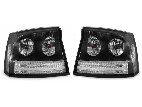 A Pair Of Depo Clear Lense With Black Housing (Altezza) Tail Lights - Dodge Charger 2006-2008