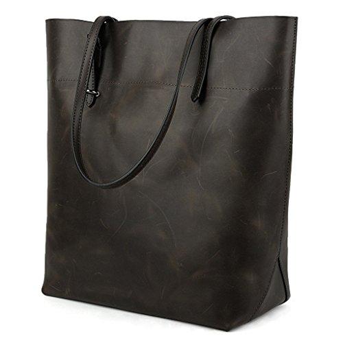 Yaluxe Vintage Stile vero Pelle Borsetta Shopper Borse a tracolla Coffee nero