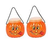 にじ・屋お菓子入れハロウィンかぼちゃポット小物入れおもちゃ貯金2点セット可愛い