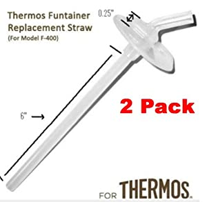 Thermos Funtainer Beverage Bottle Replacement Straw (2-pack) for F400 Cap (Read Carefully) This Is for the Thermos WITHOUT the Handle on the Lid