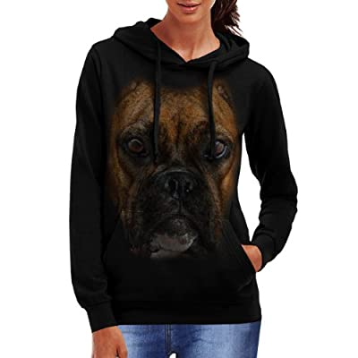 Wellcoda | Boxer Face Pitbull Womens NEW Big Dog Pet Black Hoodie S-2XL