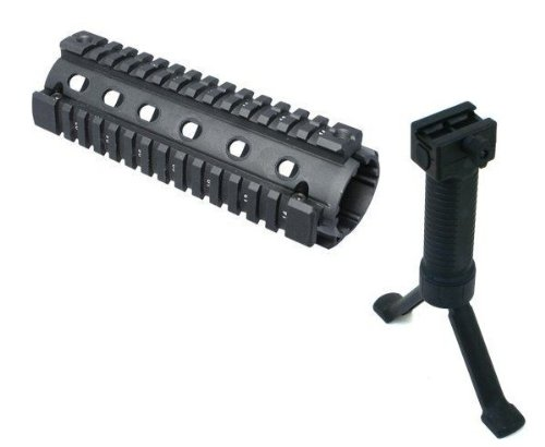 AR15 AR 15 M4 Carbine Rifle 2 Piece Quad 4 Weaver Picatinny Rail Aluminum Handguard Tactical Stealth Black Bipod Foregrip Polymer Grip