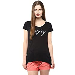 Fritzberg Soft Slim Printed Black Round Neck Top