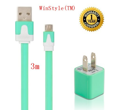 Winstyle(Tm) Diy High Speed Usb Ac Wall Charger With Extra Long 10Feet 3M Noodle Flat Micro Usb Sync Cable Cord For Google Nexus Samsung Galaxy Tab, Samsung Galaxy Note/S3/S4, Htc, Lg And Most Android Tablets/Phones, And Windows Phones-Green