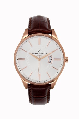 Daniel Hechter-DHH/020 2BU Men's Watch Analogue Quartz White Dial Brown Leather Strap