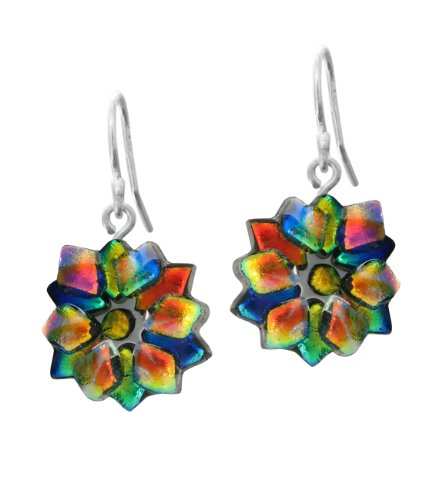 Sterling Silver Dichroic Glass Multi-Color Star Earrings